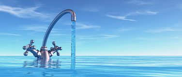 Conceptual faucet in sea stock illustration