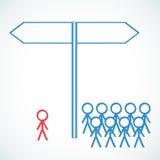 Conceptual: Figuras del palillo con elegir de la señal de tráfico  stock de ilustración