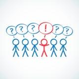 Conceptual: Figuras del palillo en fila con la pregunta marcha libre illustration