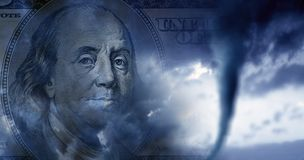 Conceptual finance image of money, one hundred dollar bill, and. Stormy sky with approaching tornado royalty free stock photos