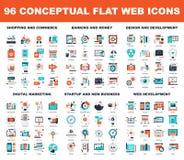 Conceptual Flat Web Icons Stock Image
