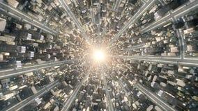 Conceptual flytrough over the fantastic city underworld. 4k video animation 3d rendering stock footage