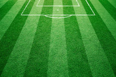 Conceptual football field with soccer goal lines. Background. Empty soccer field details on soccer field ground Stock Images
