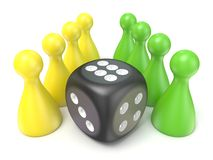 Conceptual game pawns and black dice. 3D Royalty Free Stock Photo