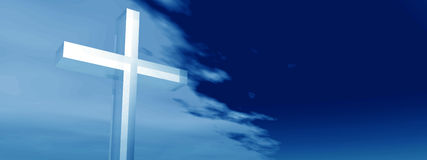 Conceptual glass cross or religion on water over a day sky banner Royalty Free Stock Photography