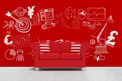 Conceptual graphic on 3D room wall Royalty Free Stock Photo