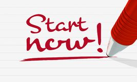 Conceptual graphic of the lettering `Start now`. vector illustration
