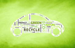 Conceptual green car driving with eco tag words Stock Photography