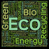 Conceptual green eco or ecology word cloud. Conceptual green, eco, ecology or energy word cloud isolated on white background Royalty Free Stock Image