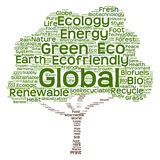 Conceptual green ecology tree word cloud Royalty Free Stock Photos