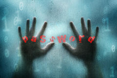 Conceptual hacker hands and binary data background Stock Images