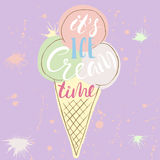 Conceptual hand drawn phrase it s ice cream time. Lettering design for posters Stock Images