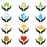 Conceptual hand icon with different object icons.  Stock Photos