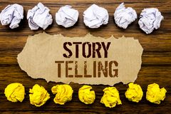 Conceptual hand text word Storytelling. Business concept for Teller Story Message Written on sticky note, wooden with sticky, many. Conceptual hand text word Stock Images