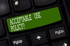 Conceptual hand writing showing Acceptable Use Policyquestion. Business photo text set of rules applied by the owner of. A network Keyboard key Intention to royalty free illustration