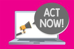 Conceptual hand writing showing Act Now. Business photo text Having fast response Asking someone to do action Dont delay Man holdi. Ng megaphone loudspeaker Royalty Free Stock Image
