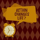 Conceptual hand writing showing Action Changes Things. Business photo showcasing overcoming adversity by taking action. On challenges Rectangular Speech Bubble stock illustration