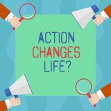 Conceptual hand writing showing Action Changes Things. Business photo text overcoming adversity by taking action on. Challenges Hu analysis Hands Holding royalty free illustration