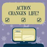Conceptual hand writing showing Action Changes Things. Business photo text overcoming adversity by taking action on. Challenges Mounted Computer Screen with vector illustration