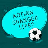 Conceptual hand writing showing Action Changes Things. Business photo text overcoming adversity by taking action on. Challenges Soccer Ball on the Grass and vector illustration
