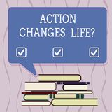 Conceptual hand writing showing Action Changes Things. Business photo text overcoming adversity by taking action on challenges. Uneven Pile of Hardbound Books stock illustration