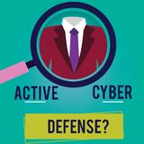 Conceptual hand writing showing Active Cyber Defensequestion. Business photo showcasing acting in anticipation to oppose. An attack Magnifying Glass Enlarging a royalty free illustration