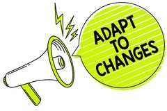 Conceptual hand writing showing Adapt To Changes. Business photo text Embrace new opportunities Growth Adaptation progress Megapho. Ne loudspeaker yellow speech stock images
