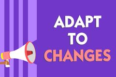 Conceptual hand writing showing Adapt To Changes. Business photo text Embrace new opportunities Growth Adaptation progress Megapho. Ne loudspeaker purple stripes royalty free stock photos