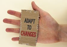 Conceptual hand writing showing Adapt To Changes. Business photo text Innovative changes adaption with technological evolution wri. Tten Tear Cardboard Piece the Royalty Free Stock Photography