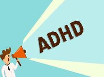 Conceptual hand writing showing Adhd. Business photo text Mental health disorder of children Hyperactive Trouble paying. Attention stock illustration