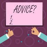 Conceptual hand writing showing Advicequestion. Business photo text Counseling Encouragement Assist Recommend Support Steer. Conceptual hand writing showing stock illustration