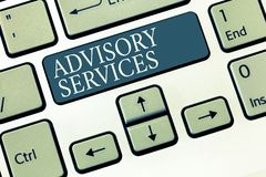 Conceptual hand writing showing Advisory Services. Business photo showcasing Support actions and overcome weaknesses in specific a. Reas stock images