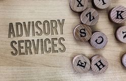 Conceptual hand writing showing Advisory Services. Business photo showcasing Support actions and overcome weaknesses in specific a. Reas royalty free stock photography