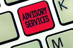 Conceptual hand writing showing Advisory Services. Business photo text Support actions and overcome weaknesses in specific areas.  stock photography