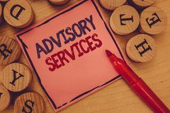 Conceptual hand writing showing Advisory Services. Business photo text Support actions and overcome weaknesses in. Specific areas stock image