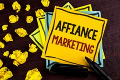 Conceptual hand writing showing Affiance Marketing. Business photo showcasing joining two or more companies in same field mutual g. Oal written Sticky Note Paper Stock Images