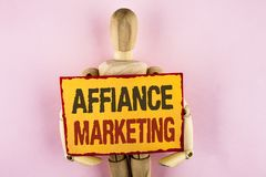 Conceptual hand writing showing Affiance Marketing. Business photo text joining two or more companies in same field mutual goal wr. Itten Sticky note paper Stock Photo