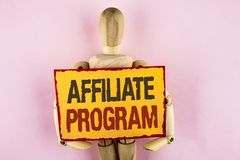 Conceptual hand writing showing Affiliate Program. Business photo text software link songs apps books and sell them to earn money. Written Sticky note paper royalty free stock photography
