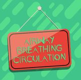 Conceptual hand writing showing Airway Breathing Circulation. Business photo showcasing Memory aid for rescuers. Performing CPR Blank Hanging Color Door Window stock illustration