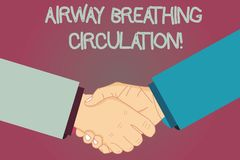 Conceptual hand writing showing Airway Breathing Circulation. Business photo text Memory aid for rescuers performing CPR. Hu analysis Shaking Hands on Agreement royalty free illustration
