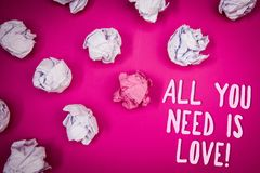 Conceptual hand writing showing All You Need Is Love Motivational. Business photo text Deep affection needs appreciation romance I. Deas pink background crumpled Royalty Free Stock Image