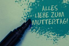 Conceptual hand writing showing Alles Liebe Zum Muttertag. Business photo showcasing Happy Mothers Day Love Good wishes Affection. Sprinkle blue color on floor stock photos
