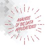 Conceptual hand writing showing Analysis Of Big Data Applications. Business photo showcasing Information technologies. Modern apps Thin Beam Lines Spreading out royalty free illustration