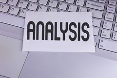 Conceptual hand writing showing Analysis. Business photo showcasing Strategic analytic plans for new website growth development wr. Itten white Sticky Note Paper Royalty Free Stock Photos