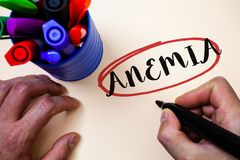 Conceptual hand writing showing Anemia. Business photo text Bloodlessness Disease Severe Blood Loss Illness Sick Iron Deficiency M royalty free stock image