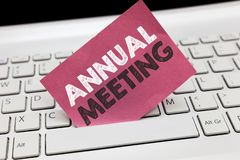 Conceptual hand writing showing Annual Meeting. Business photo showcasing Yearly gathering of an organization interested sharehold stock photo
