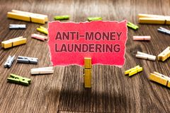 Conceptual hand writing showing Anti Money Laundering. Business photo text stop generating income through illegal actions Clips sp. Read woody table learn study royalty free stock photography