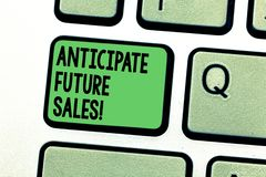 Conceptual hand writing showing Anticipate Future Sales. Business photo text Valuing an investment for profitability and. Risk Keyboard key Intention to create royalty free stock photos