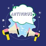Conceptual hand writing showing Antivirus. Business photo showcasing software designed to detect and destroy computer viruses. Blank Speech Bubble with royalty free stock image