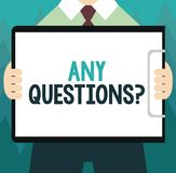 Conceptual hand writing showing Any Questions question. Business photo showcasing Asking for inquiry Interrogation Clarification.  vector illustration